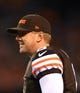 Aug 15, 2013; Cleveland, OH, USA; Cleveland Browns quarterback Brandon Weeden (3) during a preseason game against the Detroit Lions at FirstEnergy Stadium. Mandatory Credit: Andrew Weber-USA TODAY Sports