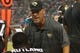 Aug 9, 2013; Jacksonville, FL, USA; Jacksonville Jaguars head coach Gus Bradley talks with cornerback Kevin Rutland (22) and teammates on the bench during the second quarter against the Miami Dolphins at EverBank Field. Mandatory Credit: Kim Klement-USA TODAY Sports