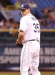 Aug 15, 2013; St. Petersburg, FL, USA; Tampa Bay Rays relief pitcher Jamey Wright (35) against the Seattle Mariners at Tropicana Field. Tampa Bay Rays defeated the Seattle Mariners 7-1. Mandatory Credit: Kim Klement-USA TODAY Sports