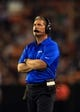 Aug 15, 2013; Cleveland, OH, USA; Detroit Lions head coach Jim Schwartz during a preseason game against the Cleveland Browns at FirstEnergy Stadium. Mandatory Credit: Andrew Weber-USA TODAY Sports