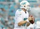 Aug 9, 2013; Jacksonville, FL, USA; Miami Dolphins quarterback Ryan Tannehill (17) throws the ball during the first quarter against the Jacksonville Jaguars at EverBank Field. Mandatory Credit: Kim Klement-USA TODAY Sports