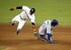 Aug 21, 2013; Miami, FL, USA;  Los Angeles Dodgers shortstop Hanley Ramirez (13) steals second base as Miami Marlins shortstop Adeiny Hechavarria (3) catches the throw in the eighth inning at Marlins Park. The Dodgers won 4-1. Mandatory Credit: Robert Mayer-USA TODAY Sports