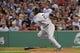 Aug 16, 2013; Boston, MA, USA; New York Yankees shortstop Eduardo Nunez (26) runs to first base after hitting a single during the third inning against the Boston Red Sox at Fenway Park. Mandatory Credit: Bob DeChiara-USA TODAY Sports