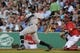 Aug 16, 2013; Boston, MA, USA; New York Yankees left fielder Alfonso Soriano (12) bats during the first inning against the Boston Red Sox at Fenway Park. Mandatory Credit: Bob DeChiara-USA TODAY Sports