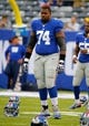 Aug 18, 2013; East Rutherford, NJ, USA; New York Giants defensive tackle Johnathan Hankins (74) prior to game against the Indianapolis Colts at MetLife Stadium. Mandatory Credit: Jim O'Connor-USA TODAY Sports