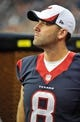 Aug 17, 2013; Houston, TX, USA; Houston Texans quarterback Matt Schaub (8) during the game between the Texans and the Miami Dolphins at Reliant Stadium. The Texans defeated the Dolphins 24-17. Mandatory Credit: Jerome Miron-USA TODAY Sports