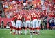 Aug 16, 2013; Kansas City, MO, USA; Kansas City Chiefs players huddle in the first half against the San Francisco 49ers at Arrowhead Stadium. San Francisco won the game 15-13. Mandatory Credit: John Rieger-USA TODAY Sports