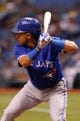 Aug 16, 2013; St. Petersburg, FL, USA; Toronto Blue Jays second baseman Maicer Izturis (3) at bat against the Tampa Bay Rays at Tropicana Field. Mandatory Credit: Kim Klement-USA TODAY Sports