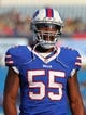Aug 16, 2013; Orchard Park, NY, USA;  Buffalo Bills defensive end Jerry Hughes (55) before a game against the Minnesota Vikings at Ralph Wilson Stadium.  Mandatory Credit: Timothy T. Ludwig-USA TODAY Sports