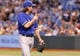 Aug 16, 2013; St. Petersburg, FL, USA; Toronto Blue Jays starting pitcher R.A. Dickey (43) gives thumbs up to the home plate umpire after he pitched the second inning against the Tampa Bay Rays at Tropicana Field. Mandatory Credit: Kim Klement-USA TODAY Sports