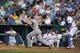 Aug 21, 2013; Kansas City, MO, USA; Chicago White Sox second baseman Gordon Beckham (15) at bat in the first inning of the game against the Kansas City Royals at Kauffman Stadium. Chicago won 5-2. Mandatory Credit: Denny Medley-USA TODAY Sports