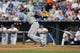 Aug 21, 2013; Kansas City, MO, USA; Chicago White Sox shortstop Alexei Ramirez (10) at bat in the first inning of the game against the Kansas City Royals at Kauffman Stadium. Chicago won 5-2. Mandatory Credit: Denny Medley-USA TODAY Sports