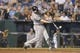 Aug 21, 2013; Kansas City, MO, USA; Chicago White Sox first baseman Paul Konerko (14) at bat during the sixth inning of the game against the Kansas City Royals at Kauffman Stadium. Chicago won 5-2. Mandatory Credit: Denny Medley-USA TODAY Sports