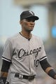 Aug 21, 2013; Kansas City, MO, USA; Chicago White Sox shortstop Alexei Ramirez (10) walks to the dugout in between innings of the game against the Kansas City Royals at Kauffman Stadium. Chicago won 5-2. Mandatory Credit: Denny Medley-USA TODAY Sports