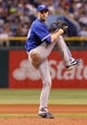 Aug 17, 2013; St. Petersburg, FL, USA; Toronto Blue Jays starting pitcher J.A. Happ (48) throws a pitch against the Tampa Bay Rays at Tropicana Field. Toronto Blue Jays defeated the Tampa Bay Rays 6-2. Mandatory Credit: Kim Klement-USA TODAY Sports