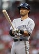 Aug 23, 2013; Cincinnati, OH, USA; Milwaukee Brewers right fielder Norichika Aoki (7) prepares to bat during the first inning against the Cincinnati Reds at Great American Ball Park. Mandatory Credit: Frank Victores-USA TODAY Sports
