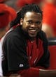 Aug 23, 2013; Cincinnati, OH, USA; Injured Cincinnati Reds starting pitcher Johnny Cueto (47) in the dugout during the fourth inning against the Milwaukee Brewers at Great American Ball Park. Mandatory Credit: Frank Victores-USA TODAY Sports
