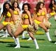 Aug 24, 2013; Landover, MD, USA; Washington Redskins cheerleaders perform before the game against the Buffalo Bills at FedEX Field. Mandatory Credit: Brad Mills-USA TODAY Sports