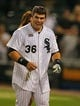 Aug 24, 2013; Chicago, IL, USA; Chicago White Sox catcher Josh Phegley (36) after being drenched with Gatorade during the ninth inning against the Texas Rangers at US Cellular Field. Chicago won 3-2. Mandatory Credit: Dennis Wierzbicki-USA TODAY Sports