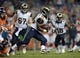 Aug 24, 2013; Denver, CO, USA; St. Louis Rams running back Benny Cunningham (45) rushes in the fourth quarter against the Denver Broncos at Sports Authority Field .The Broncos defeated the Rams 27-26. Mandatory Credit: Ron Chenoy-USA TODAY Sports