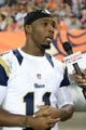 Aug 24, 2013; Denver, CO, USA; St. Louis Rams wide receiver Tavon Austin (11) speaks to the media during the preseason game against the Denver Broncos at Sports Authority Field .The Broncos defeated the Rams 27-26. Mandatory Credit: Ron Chenoy-USA TODAY Sports
