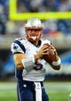 Aug 22, 2013; Detroit, MI, USA; New England Patriots quarterback Tim Tebow (5) during a preseason game against the Detroit Lions at Ford Field. Mandatory Credit: Andrew Weber-USA TODAY Sports