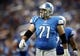 Aug 22, 2013; Detroit, MI, USA; Detroit Lions player Riley Reiff offensive tackle (71) walks off the field in game against the New England Patriots  during 1st half at Ford Field  Mandatory Credit: Mike Carter-USA TODAY Sports