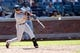 Aug 25, 2013; New York, NY, USA;  Detroit Tigers second baseman Omar Infante (4) singles allowing a runner to score during the ninth inning against the New York Mets at Citi Field. Detroit won 11-3.  Mandatory Credit: Anthony Gruppuso-USA TODAY Sports