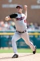 Aug 22, 2013; Detroit, MI, USA; Minnesota Twins starting pitcher Andrew Albers (63) pitches in the first inning against the Detroit Tigers at Comerica Park. Mandatory Credit: Rick Osentoski-USA TODAY Sports