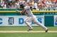 Aug 22, 2013; Detroit, MI, USA; Minnesota Twins second baseman Brian Dozier (2) runs the ball against the Detroit Tigers at Comerica Park. Mandatory Credit: Rick Osentoski-USA TODAY Sports