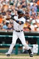 Aug 22, 2013; Detroit, MI, USA; Detroit Tigers center fielder Austin Jackson (14) at bat against the Minnesota Twins at Comerica Park. Mandatory Credit: Rick Osentoski-USA TODAY Sports