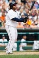 Aug 22, 2013; Detroit, MI, USA; Detroit Tigers first baseman Prince Fielder (28) at bat against the Minnesota Twins at Comerica Park. Mandatory Credit: Rick Osentoski-USA TODAY Sports