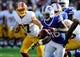 Aug 24, 2013; Landover, MD, USA; Buffalo Bills running back C.J. Spiller (28) runs the ball against the Washington Redskins during the first half at FedEX Field. Mandatory Credit: Brad Mills-USA TODAY Sports