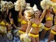 Aug 24, 2013; Landover, MD, USA; Washington Redskins cheerleaders take the field before the game against the Buffalo Bills at FedEX Field. Mandatory Credit: Brad Mills-USA TODAY Sports