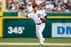 Aug 22, 2013; Detroit, MI, USA; Detroit Tigers shortstop Jose Iglesias (1) makes a throw against the Minnesota Twins at Comerica Park. Mandatory Credit: Rick Osentoski-USA TODAY Sports