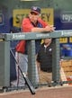 Aug 23, 2013; Kansas City, MO, USA;  Washington Nationals manager Davey Jonson (5) in the dugout before a game against the Kansas City Royals at Kauffman Stadium.  Mandatory Credit: Peter G. Aiken-USA TODAY Sports