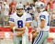 Aug 17, 2013; Phoenix, AZ, USA; Dallas Cowboys quarterback Tony Romo (9) and quarterback Kyle Orton (18) practice during warm ups before the first quarter against the Arizona Cardinals at University of Phoenix Stadium. The Cardinals defeated the Cowboys 12-7. Mandatory Credit: Casey Sapio-USA TODAY Sports