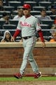 Aug 26, 2013; New York, NY, USA; Philadelphia Phillies manager Ryne Sandberg (23) walks out to argue a call during the ninth inning of a game against the New York Mets at Citi Field. The Phillies defeated the Mets 2-1. Mandatory Credit: Brad Penner-USA TODAY Sports