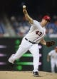 Aug 27, 2013; Washington, DC, USA; Washington Nationals starting pitcher Ross Ohlendorf (43) throws during the first inning against the Miami Marlins at Nationals Park. Mandatory Credit: Brad Mills-USA TODAY Sports