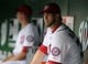 Aug 27, 2013; Washington, DC, USA; Washington Nationals left fielder Bryce Harper (34) on the bench before the game against the Miami Marlins at Nationals Park. Mandatory Credit: Brad Mills-USA TODAY Sports