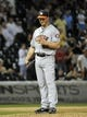 Aug 27, 2013; Chicago, IL, USA; Houston Astros relief pitcher Erik Bedard (45) reacts after giving up three runs against the Chicago White Sox during the eighth inning at U.S. Cellular Field. The Chicago White Sox defeated the Houston Astros 4-3. Mandatory Credit: David Banks-USA TODAY Sports