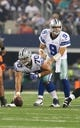 Aug 24, 2013; Arlington, TX, USA; Dallas Cowboys quarterback Tony Romo (9) under center Travis Frederick (70) in the second quarter against the Cincinnati Bengals at AT&T Stadium. Mandatory Credit: Matthew Emmons-USA TODAY Sports