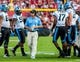 Aug 29, 2013; Columbia, SC, USA; North Carolina Tar Heels head coach Larry Fedora directs his team during a timeout in the second quarter at Williams-Brice Stadium. Mandatory Credit: Jeff Blake-USA TODAY Sports