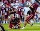 Aug 29, 2013; Columbia, SC, USA; South Carolina Gamecocks kicker Elliott Fry (29) makes a field goal as punter Patrick Fish (18) holds in the second quarter at Williams-Brice Stadium. Mandatory Credit: Jeff Blake-USA TODAY Sports