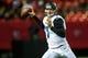 Aug 29, 2013; Atlanta, GA, USA; Jacksonville Jaguars quarterback Chad Henne (7) passes on the run in the first quarter against the Atlanta Falcons at the Georgia Dome. Mandatory Credit: Daniel Shirey-USA TODAY Sports