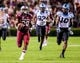 Aug 29, 2013; Columbia, SC, USA; South Carolina Gamecocks running back Mike Davis (28) rushes for a 75 yard touchdown against the North Carolina Tar Heels in the third quarter at Williams-Brice Stadium. Mandatory Credit: Jeff Blake-USA TODAY Sports