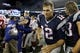 Aug 29, 2013; Foxborough, MA, USA; New England Patriots quarterback Tom Brady (12) exits the field after the game against the New York Giants at Gillette Stadium. The Patriots defeated the Giants 28-20. Mandatory Credit: David Butler II-USA TODAY Sports
