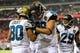 Aug 29, 2013; Atlanta, GA, USA; Jacksonville Jaguars wide receiver Jeremy Ebert (80) celebrates scoring with tight end Ryan Otten (88) in the second half at the Georgia Dome. The Jaguars won 20-16. Mandatory Credit: Daniel Shirey-USA TODAY Sports