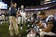 Aug 29, 2013; Foxborough, MA, USA; New England Patriots head coach Bill Belichick talks to his players on the sideline as they take on the New York Giants in the fourth quarter at Gillette Stadium. Mandatory Credit: David Butler II-USA TODAY Sports