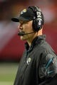 Aug 29, 2013; Atlanta, GA, USA; Jacksonville Jaguars head coach Gus Bradley shown on the sidelines against the Atlanta Falcons during the fourth quarter at the Georgia Dome. The Jaguars defeated the Falcons 20-16. Mandatory Credit: Dale Zanine-USA TODAY Sports